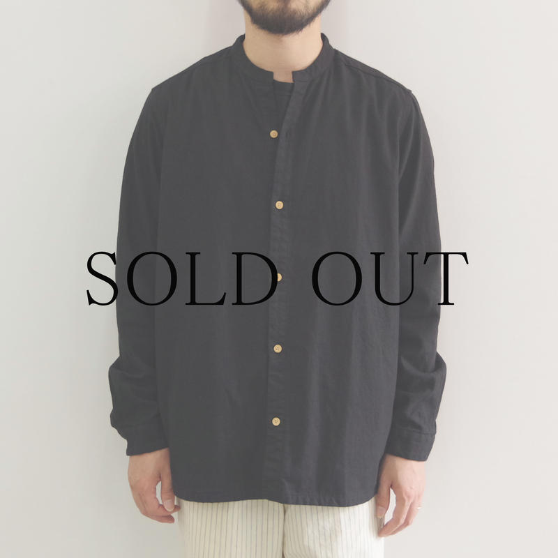 THE HINOKI / リネンコットン スタンドアップカラーシャツ / col.ブラック