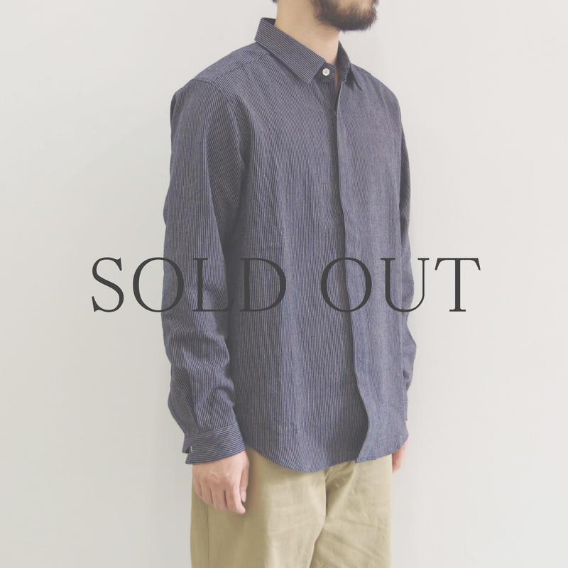 THE HINOKI / 備後節織ストライプシャツ / col.ネイビー