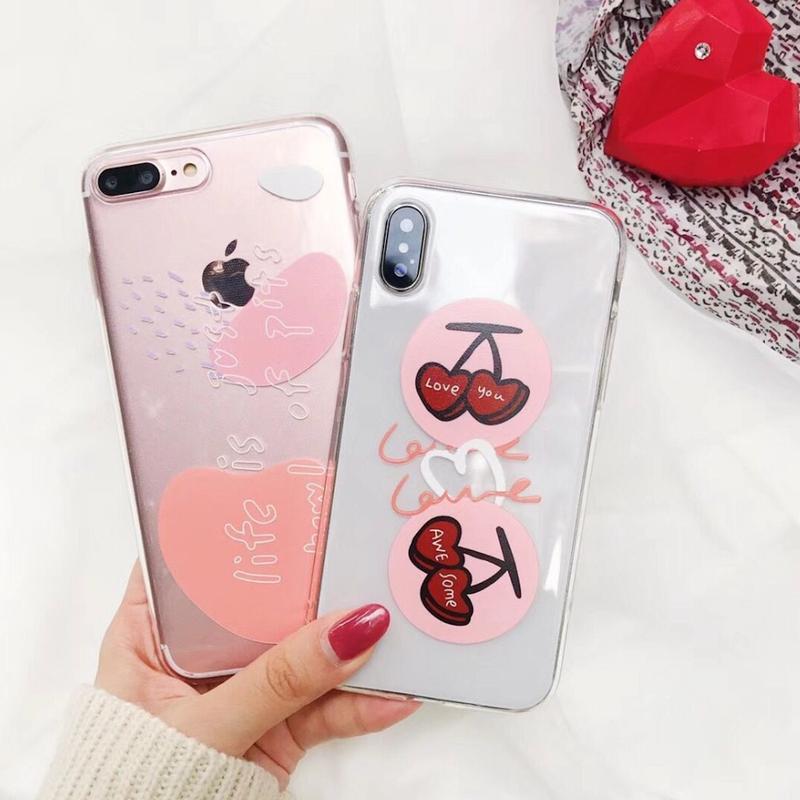 iPhoneケース  #チェリー #pink art #クリアケース