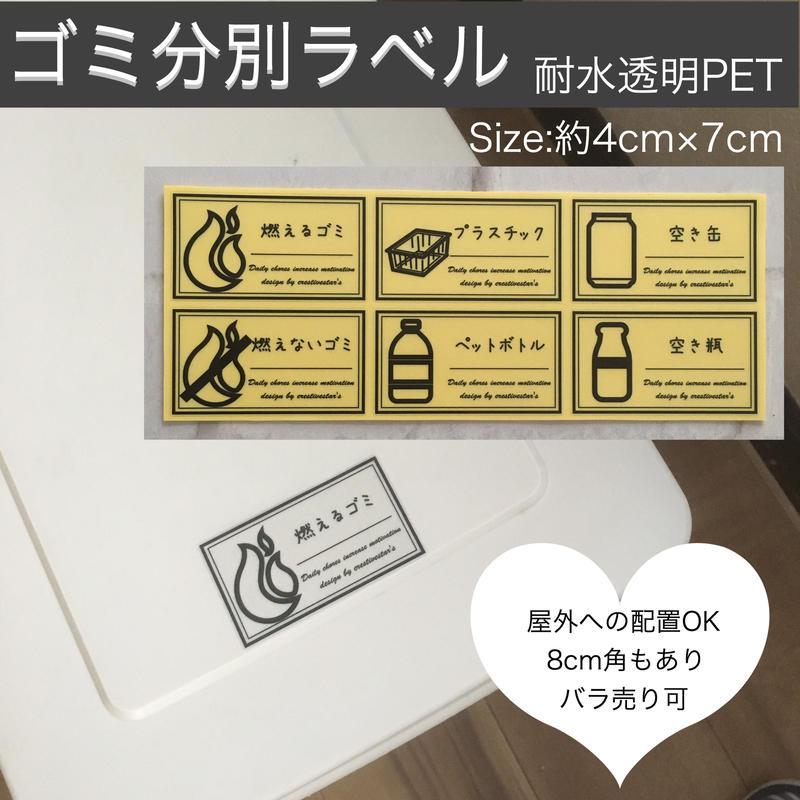 ゴミ分別ラベル蓋サイズイラスト入り透明PET