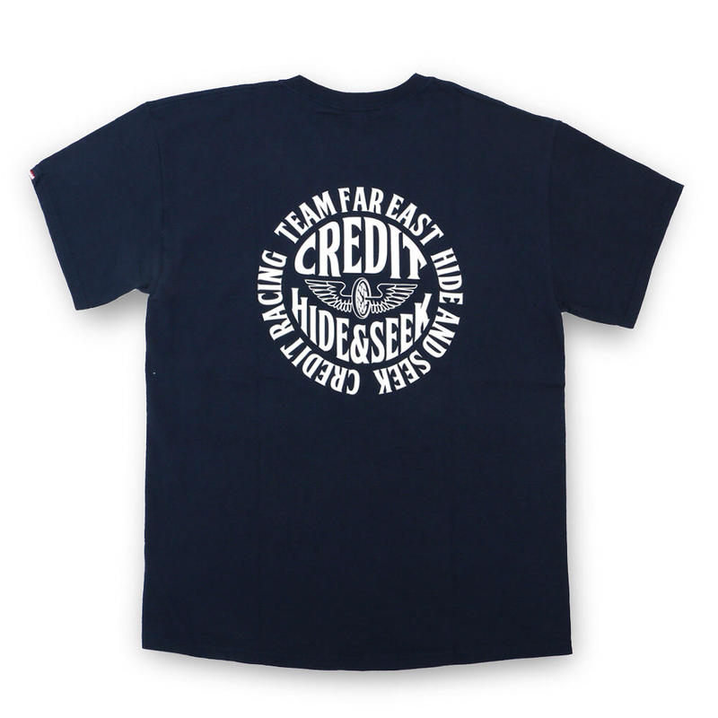 "HideandSeek × CREDIT T-SHIRTS ""TEAM FAR EAST""・Navy"