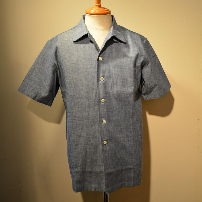 kenneth field 2019ss open collar shirt -chambray-