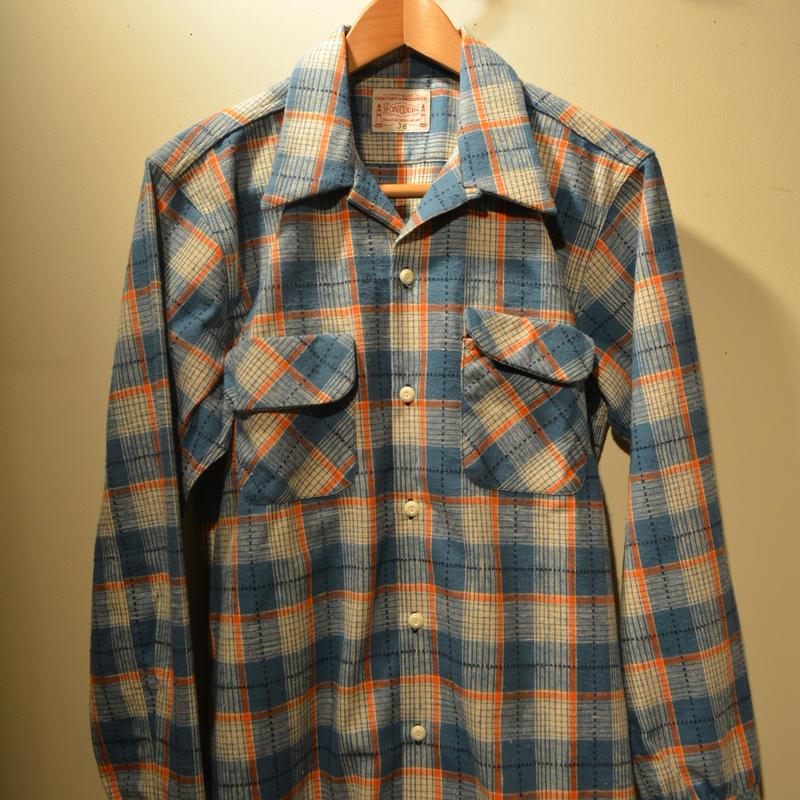 boncoura ネル開襟シャツ (ワンナップシャツ) ブルー