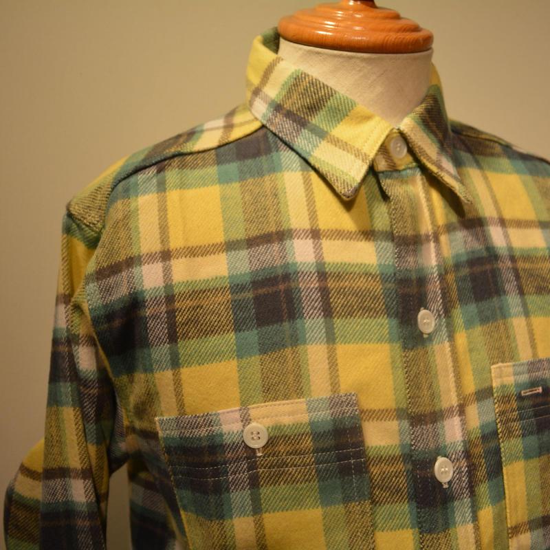 boncoura 2019aw ワークシャツ ‐デッドストックネル生地‐ イエロー