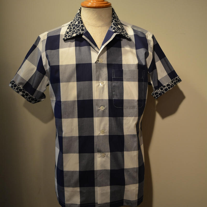 kenneth field open collar shirt -ginghamcheck-