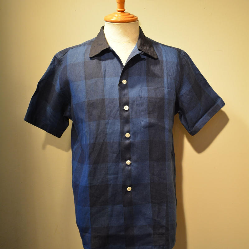 kenneth field open collar shirt -indigo blockcheck-