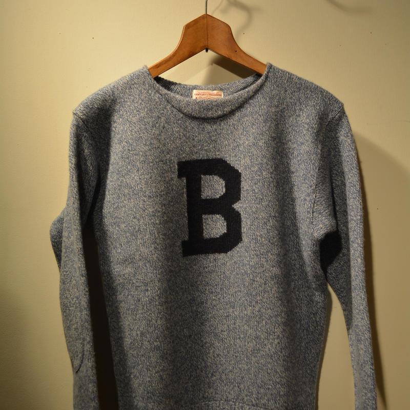 boncoura Bセーター ブルー杢×ネイビー