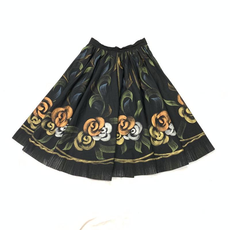 1950'S メキシコヴィンテージ ハンドペイントバラ柄サーキュラースカート(BLACK)[7022]
