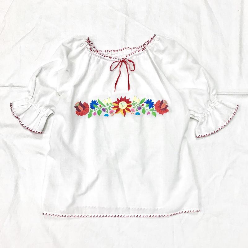 1970'S ヴィンテージ ハンガリー刺繍チュニック(WHITE)[7016]