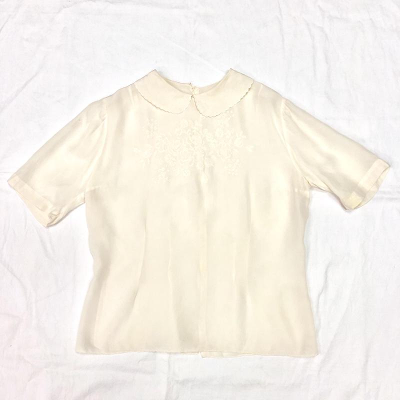 1950'S VINTAGE お花刺繍シルクブラウス(WHITE)[7035]