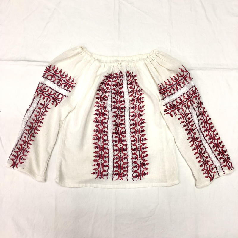 1970'S VINTAGE ルーマニア刺繍チュニック(RED×WHITE)[7037]
