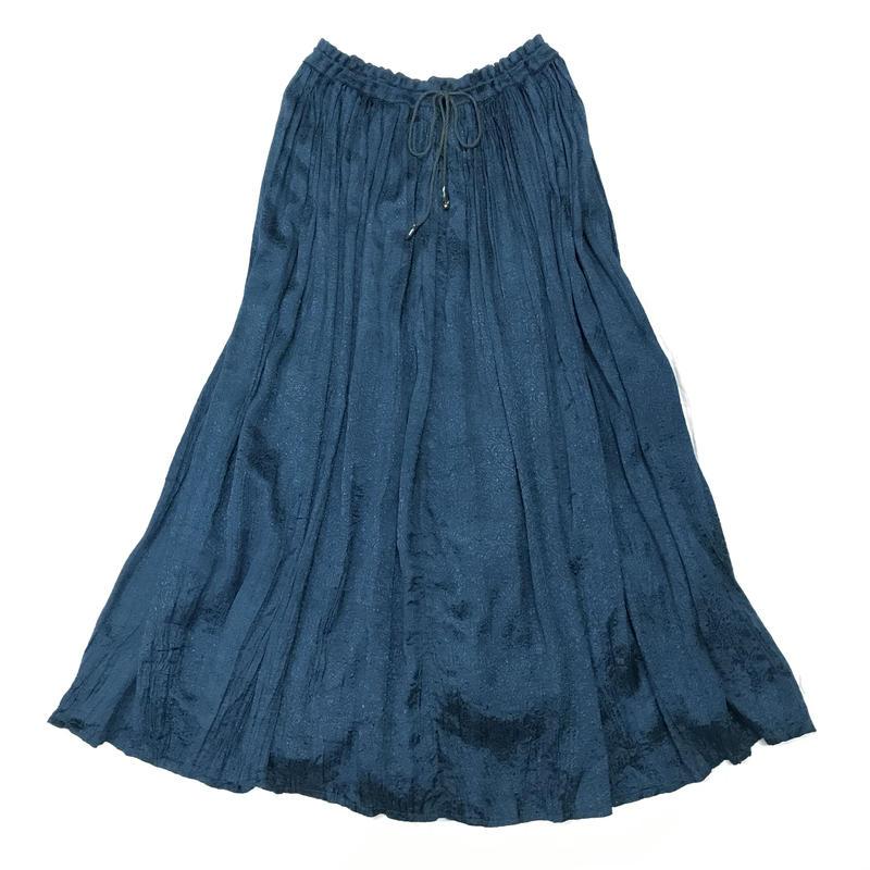 インドレーヨンペイズリー織り柄スカート(BLUE)[7050]