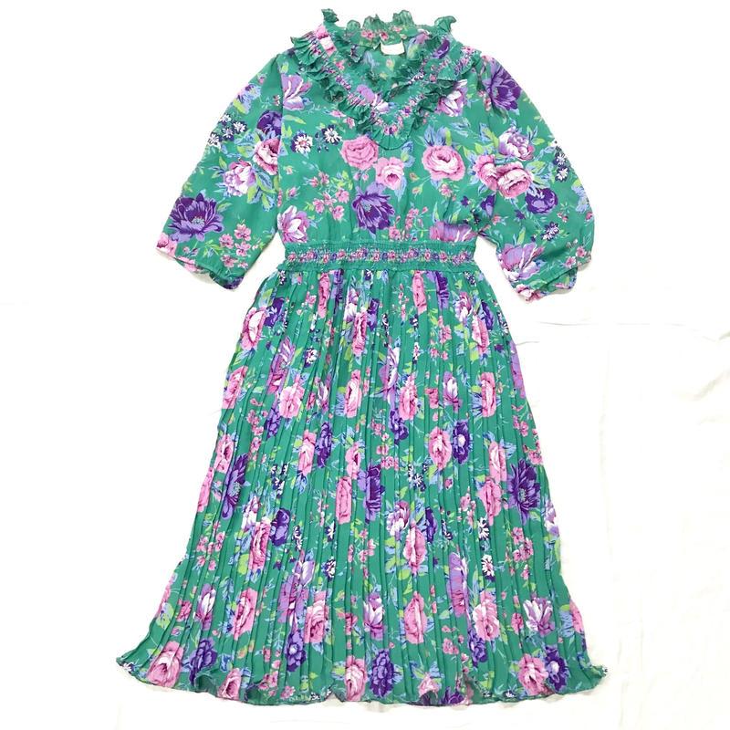 1980'S VINTAGE 「SUSAN Freis」花柄プリーツ切替ワンピース(GREEN)[7047]