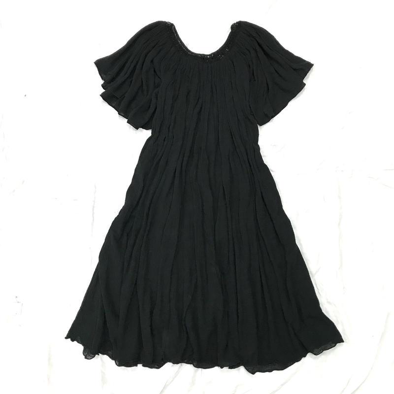 1970'S ヴィンテージ メキシカンコットンワンピース(BLACK)[7009]