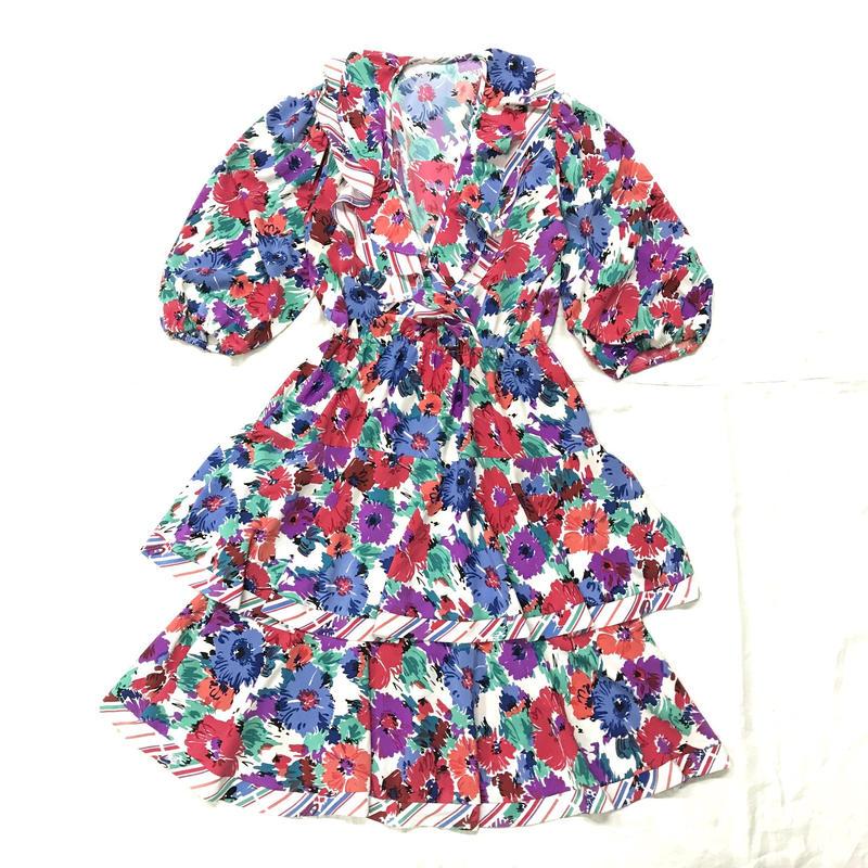 1980'S VINTAGE 「SUSAN Freis」花柄×ストライプ柄ワンピース(WHITE)[7045]