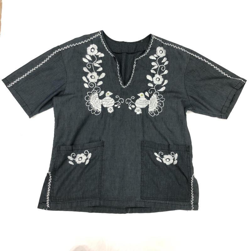 メキシコ鳥刺繍チュニック(GRAY)[7040]