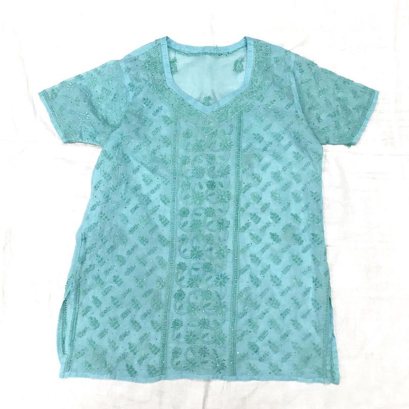 ヴィンテージ インド刺繍チュニック(BLUE)[7028]