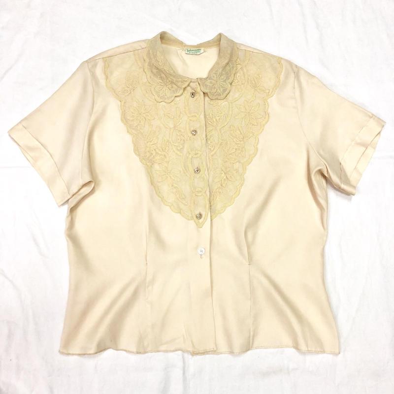 1950'S VINTAGEお花レース襟ブラウス(IVORY)[7036]