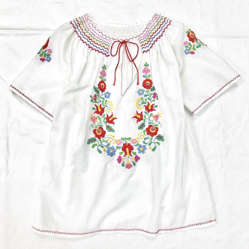 1970'S ヴィンテージ ハンガリー刺繍チュニック(WHITE)[7017]