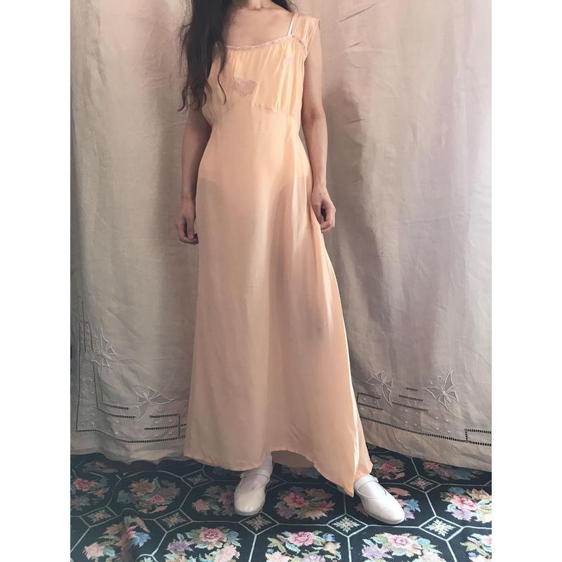 Peach satin dress