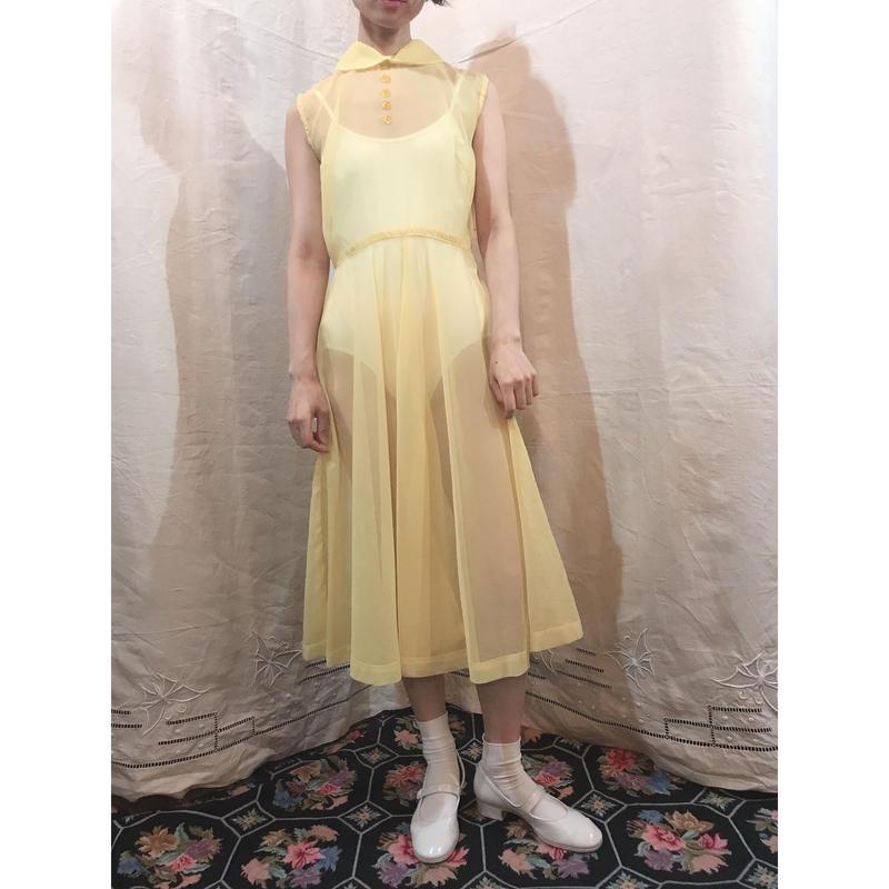 1950s Yellow nylon dress N004