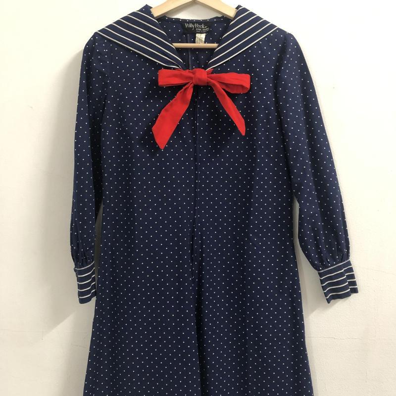 F-troupe vintage 1960's polka dot sailor dress Navy