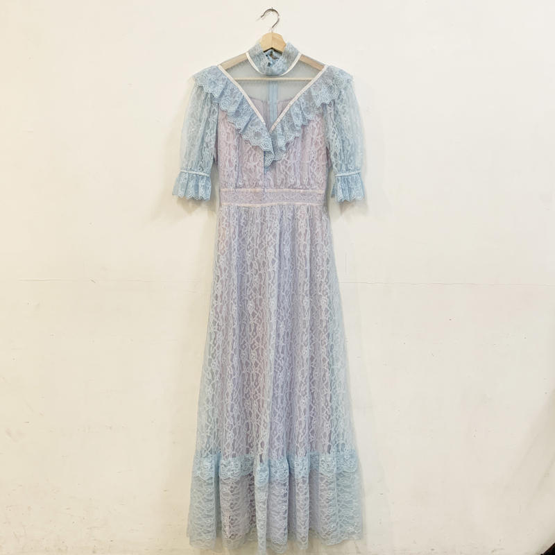 1970-80s Blue tulle & Lavender dress