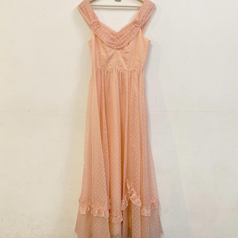 Vintage pink dot long dress