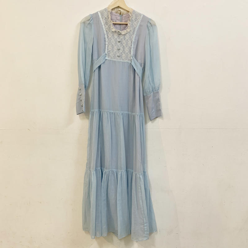1970s Baby blue cotton long sleeve dress