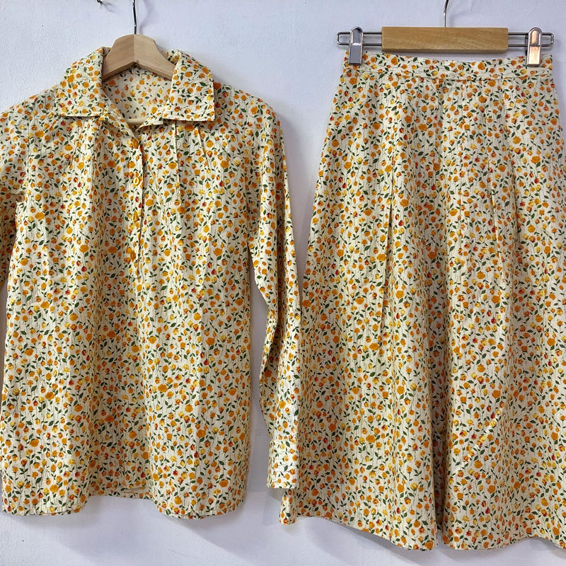 1970's Liberty floral print shirt +skirt