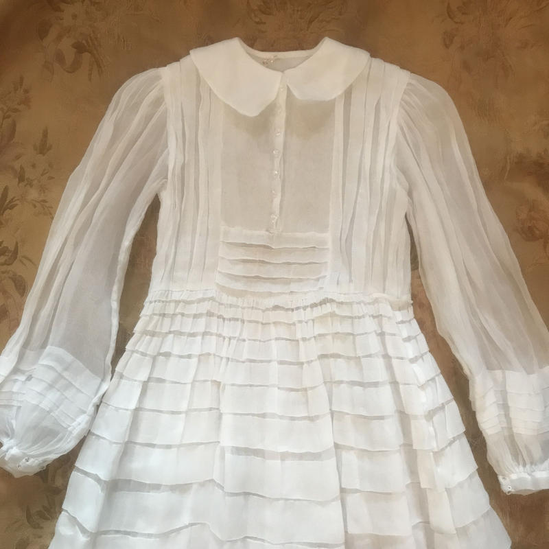 1920s Organdy dress with crystal buttons