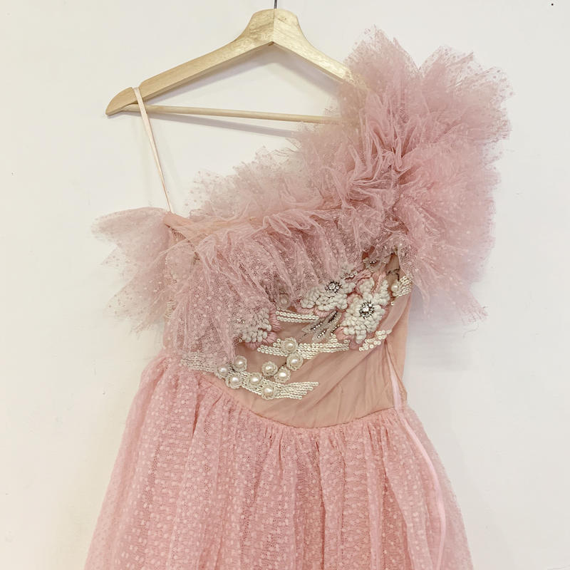 French vintage pink tulle dress