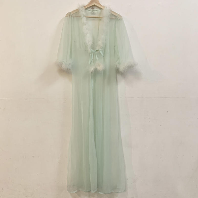 1980s Mint green gown with feather