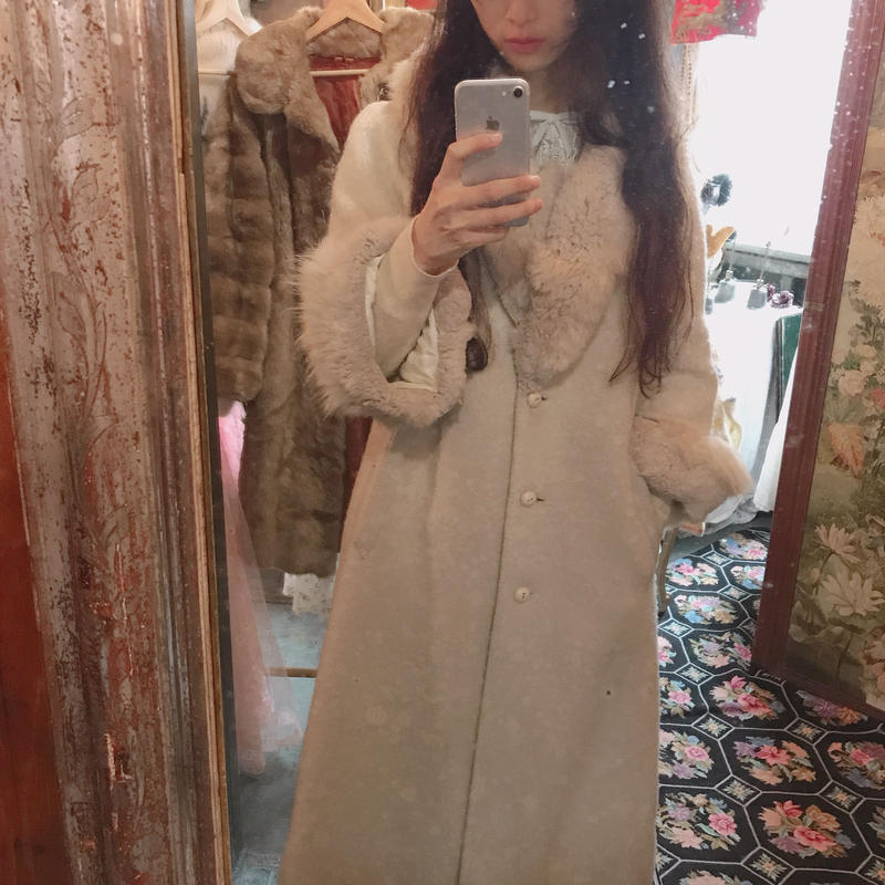1950s wool coat with fur trim