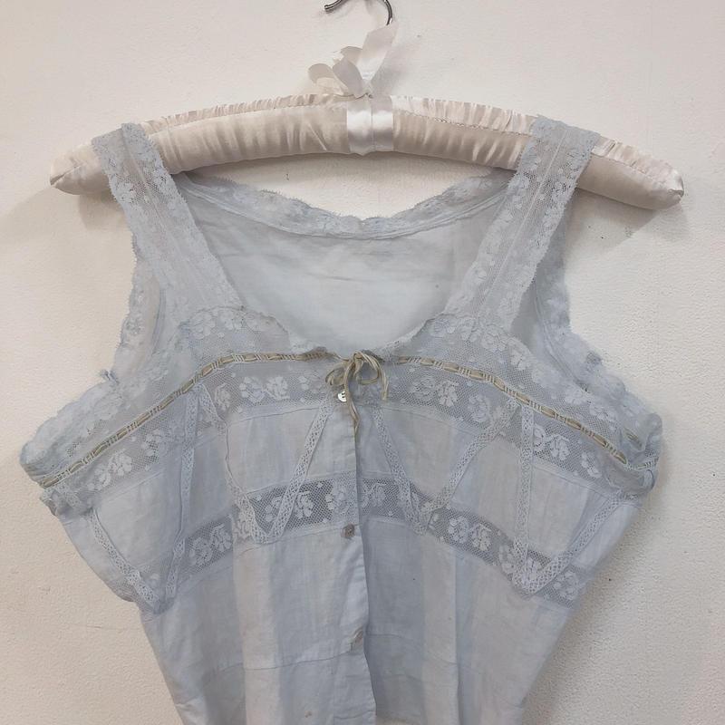 antique  baby blue cotton top