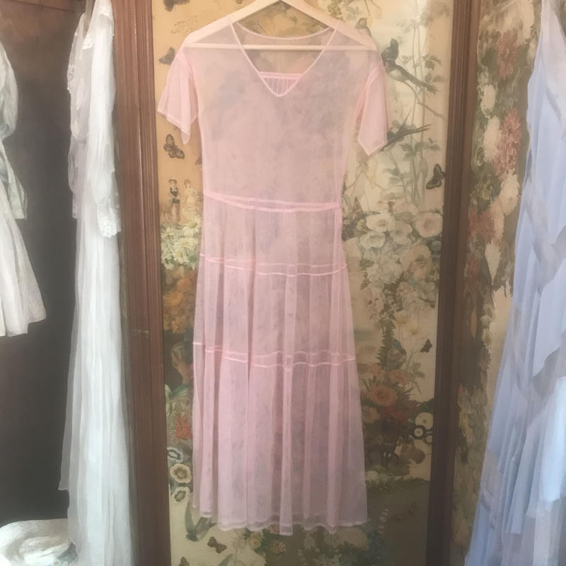1920s pink mesh dress