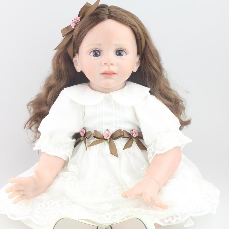 トドラー人形 プリンセスドール リボーンドール 抱き人形 約60cm 海外製ハンドメイド かわいい幼児ちゃん 衣装付き ウェーブロングヘア ブルーアイ 清楚な白ワンピースの女の子
