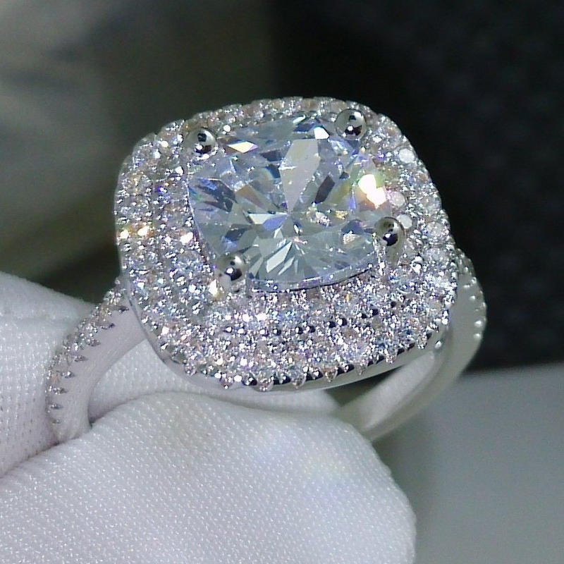 レディース CZダイヤモンドリング スクエアダイヤ二重取り巻きエンゲージリング キュービックジルコニア指輪 Silver925スターリングシルバー 高級 キラキラ プレゼント 婚約 ブライダル
