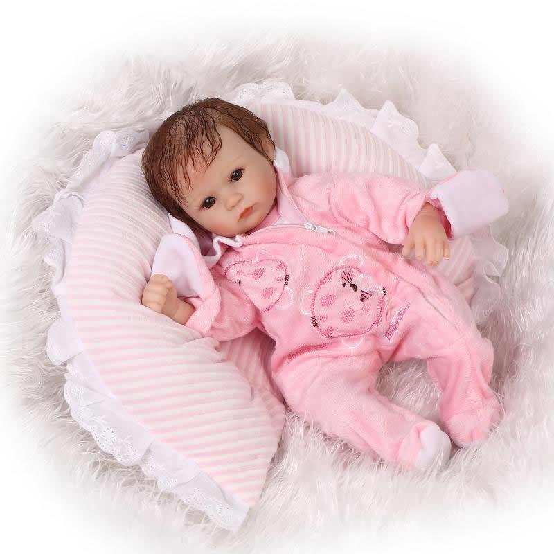 リボーンドール リアル赤ちゃん人形 小さめ40cm かわいいベビー人形 ハンドメイド海外ドール 衣装とおしゃぶり・哺乳瓶付き ウサギスーツの女の子 ブラウンアイ orブルーアイ