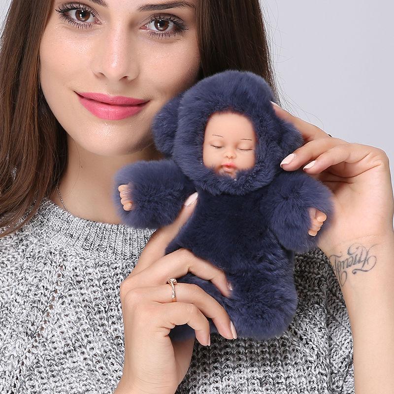 リアル赤ちゃん人形 キーホルダー ファーバッグチャーム 大きめモコモコ赤ちゃん人形  ふわふわキーリング リボーンドール
