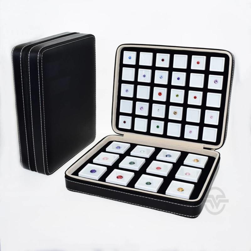 宝石ルースケース42個+トランクボックスセット レザー調 大量 携帯用 ポータブル トラベル 原石ディスプレイ トランクショー 展示会 黒 革