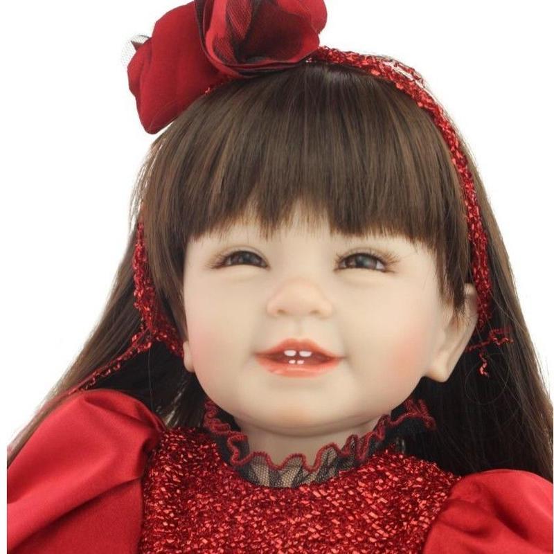 トドラー人形 プリンセスドール リボーンドール 抱き人形 高級ハンドメイド海外ドール かわいい幼児ちゃん人形 衣装付き ロングヘア 満面の笑顔の女の子 赤と黒のシックなドレス