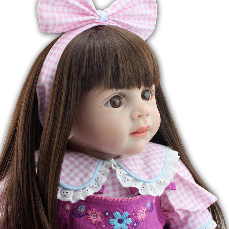 トドラー人形 プリンセスドール リボーンドール 抱き人形 約60cm 海外製ハンドメイド かわいい幼児ちゃん 衣装付き ロングヘア 紫のお洋服 リボンの女の子