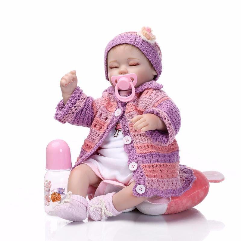 リボーンドール リアル赤ちゃん人形 小さめ40cm かわいいベビー人形 ハンドメイド海外ドール 衣装とおしゃぶり・哺乳瓶付き おねんね すやすや ミニ乳児ちゃん