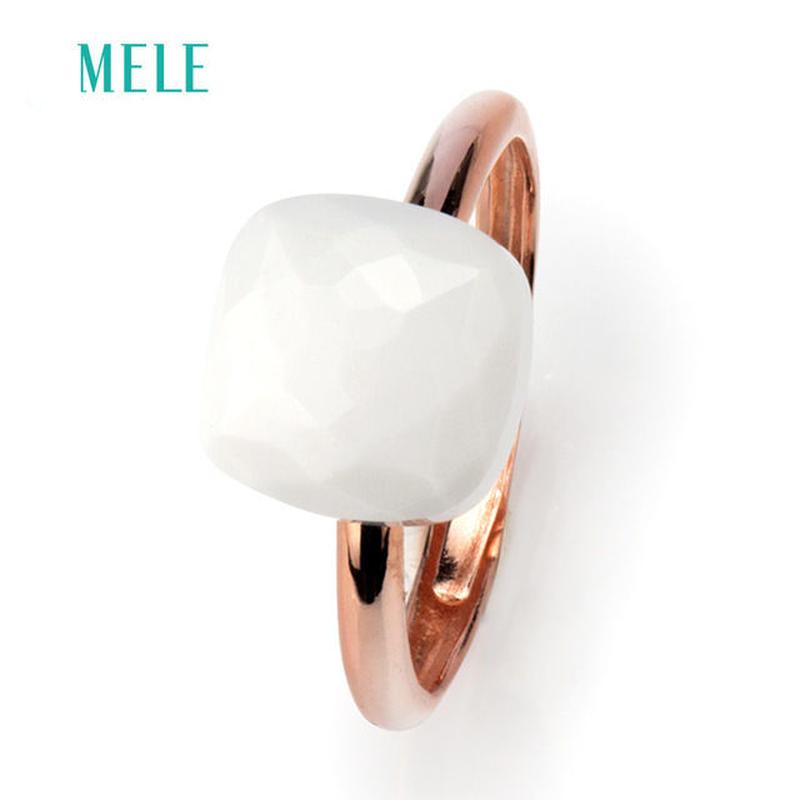 ホワイトアゲート 大粒天然石リング 指輪 ピンクゴールド Silver925 ヌードリング インドジュエリー風 / ポメラート ヌードリング キャンディリング アズニ アムラパリ  お好きな方に