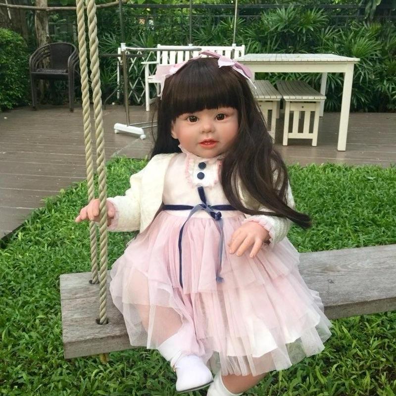 トドラー人形 プリンセスドール リボーンドール 抱き人形 約70cm 海外製ハンドメイド かわいい幼児ちゃん 衣装付き 黒髪ロングヘア 選べるアイカラー 女の子
