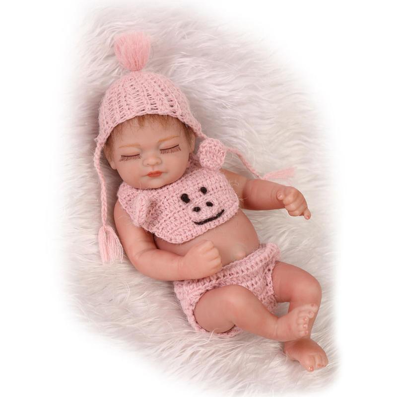 リボーンドール フルシリコンビニール リアル赤ちゃん人形 ミニサイズ25cm 入浴可能 かわいいベビー人形 未熟児サイズ クローズアイ ピンク