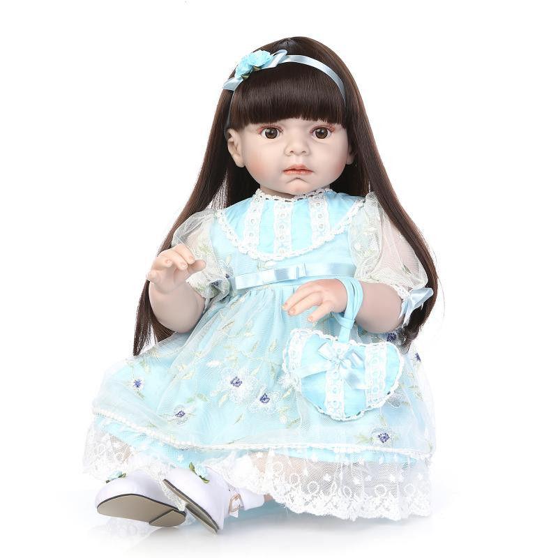 トドラー人形 プリンセスドール リボーンドール 抱き人形 約70cm 海外製ハンドメイド かわいい幼児ちゃん 衣装付き 黒髪ロングヘア ブルードレス ブラウンアイ 女の子