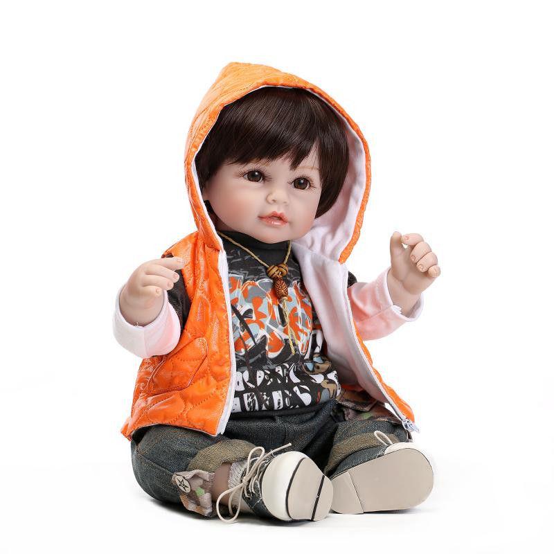 リボーンドール 赤ちゃん人形 ベビー人形 ベビードール 海外ドール リアル ハンドメイド 高級 服 衣装付き かわいい お顔くっきり 黒目黒髪 ユニセックス 男の子 女の子 トドラー 元気