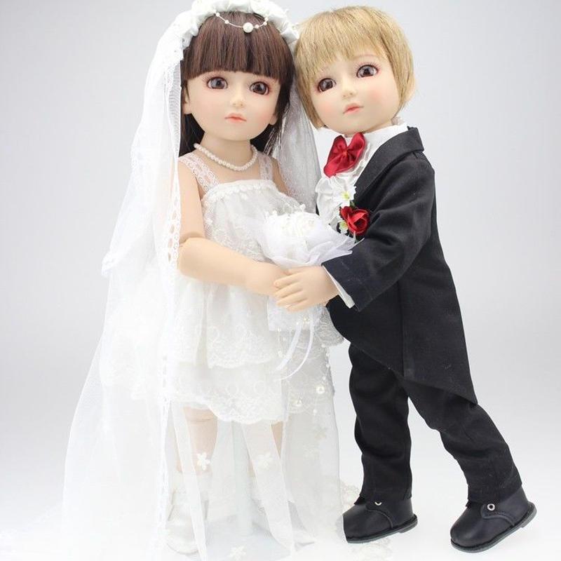 球体関節人形 BJD 衣装付き完成品 フルビニール 約45cm ウェディングドレスの花嫁 or タキシードの新郎 男の子 女の子 お嬢様 お姫様 フランス人形/着せ替え人形/カスタムドール